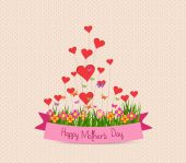Happy mother's day with label and hearts — ストックベクタ