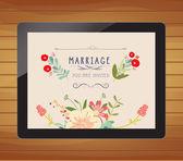 Invitation de mariage floral sur tablette — Vecteur