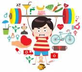 Hälsosam livsstil och fitness hjärta logga — Stockvektor