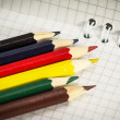 Spiral notepad with set of color pencils. — Stock Photo #56518433