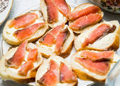 Sandwiches with butter and red fish close-up — Stok fotoğraf