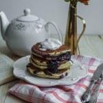 Pancake with icecream and blueberry jam — Stock Photo #67622469