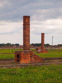 Chimneys left in ruins of Birkenau concentration camp — Stock Photo