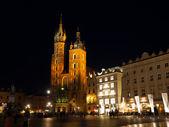 Krakow Main Market Square by night — Stock Photo