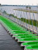 Boats lined up in a row — Stock Photo