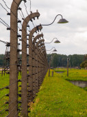 Barbwire fence in concentration camp — Stock Photo