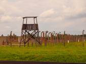 Wooden guard tower in concentration camp — Stock Photo