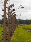 Barbwire fence in concentration camp — Foto de Stock