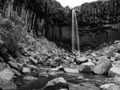Svartifoss in black and white — Stock Photo