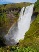Skogafoss waterfall with rainbow — Stock Photo