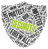 Security word cloud in a shape of shield — Stock Vector
