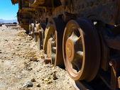 Old rusty locomotive wheels — Stock Photo