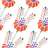 Seamless watercolor flower pattern — Stock Vector
