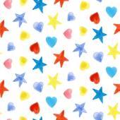 Yıldızlar ve kalpleri ile seamless modeli — Stok Vektör