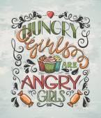 Hungrige Girls Poster — Stockvektor