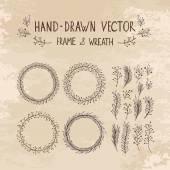 Struttura disegnata a mano e corona — Vettoriale Stock