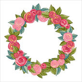 Rose Wreath — Stock Vector