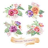 Watercolor Bouquets — Stock Vector