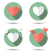 Hearts in flat icon style. — Stock Vector
