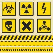 Warning signs, symbols. Seamless tape. — Stock Vector