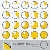 Set of the segmented, circular charts with notches — Stock Vector