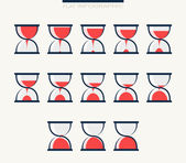 Set of charts in form hourglasses. Infographics — Stock Vector