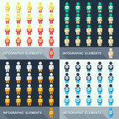 Set segmented charts in the form of people. — Stockvector