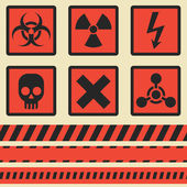 Warning signs, symbols. Vector set. Seamless tape — Stock Vector