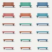 Set of different types benches — Stock Vector