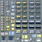 Big set windows, balconies and other for building — Stockvektor