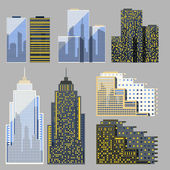 Set of skyscrapers in the flat and detailed style — Stock Vector