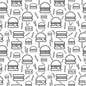 Seamless monochrome pattern burgers and fries — Stock Vector