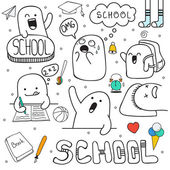 Set doodle characters, and school facilities. Anime character. — 图库矢量图片
