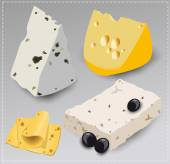 Set of different kinds of cheese. Vector illustration. — Stock Vector