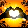 Silhouette of hands making a heart on the background of the suns — Stock Vector #65773393