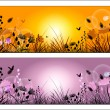 Silhouette of meadow grass and flowers on a background of the su — Stockvektor  #65777145