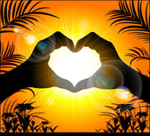 Silhouette of hands making a heart on the background of the suns — Stock Vector