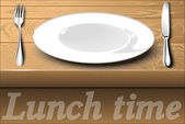 White plate with cutlery on a wooden dining table. Lunch time. — Stock Vector