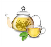 Transparent teapot and a cup of green tea. — Vector de stock