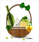 A bottle of wine, grapes and cheese in a wicker basket. Set for — Vetorial Stock