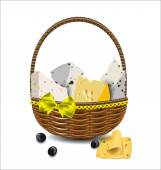 Set of different types of cheese in a wicker basket. Vector illu — Stock Vector