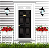 View of the front door, a cute flower pot and a lawn at the hous — Vetorial Stock