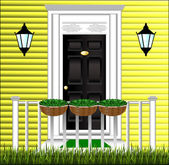 View of the front door, a cute flower pot and a lawn at the hous — Vector de stock
