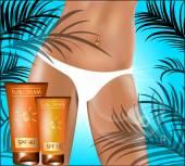 Sunscreen. Suntanned female hip. Vector illustration. — Stock Vector