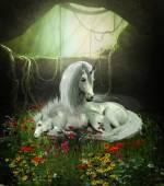 Unicorn Mare and Foal — Stock Photo