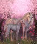 White Unicorn Mare and Foal — Stock Photo