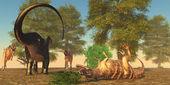 Apatasaurus fights Ceratosaurus — Foto de Stock