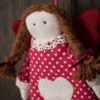 Vintage girl Christmas handmade toy — Stock Photo #58435989