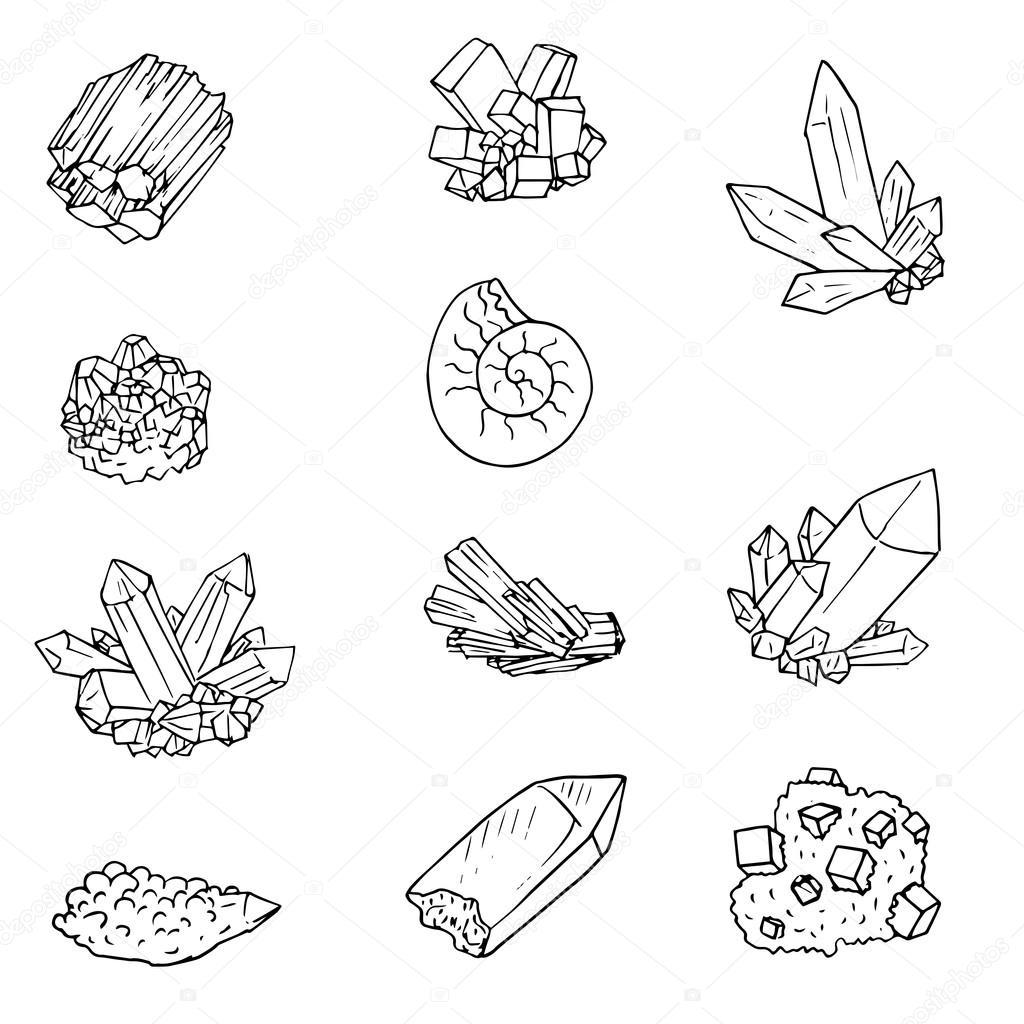 Edelstenen Kleurplaat Drawn Diamonds Doodle Pencil And In Color