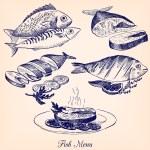 Постер, плакат: Set of hand drawn fish dishes